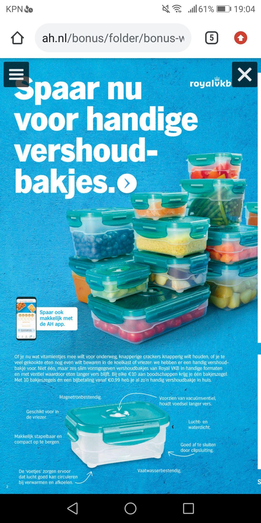 TIJDELIJK STOPGEZET: AH Verszegels sparen voor oa. bakjes met korting bij Albert Heijn