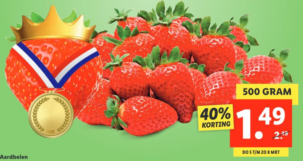 Aardbeien Lidl 500 gram €1,49 vanaf 5 maart