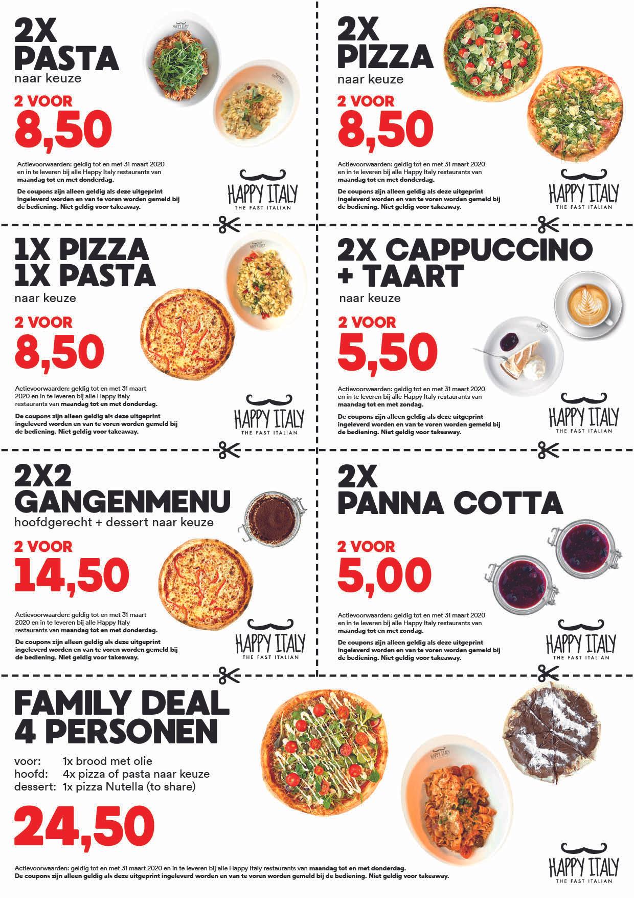 Tot 61% korting: Happy Italy, Happy deals, bv 2x Pizza's of 2x pastas voor €8.50