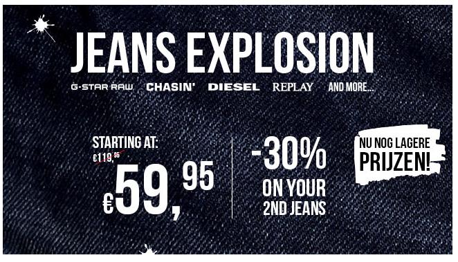 Merkjeans va €59,95 + 30% korting op 2e jeans @ Score