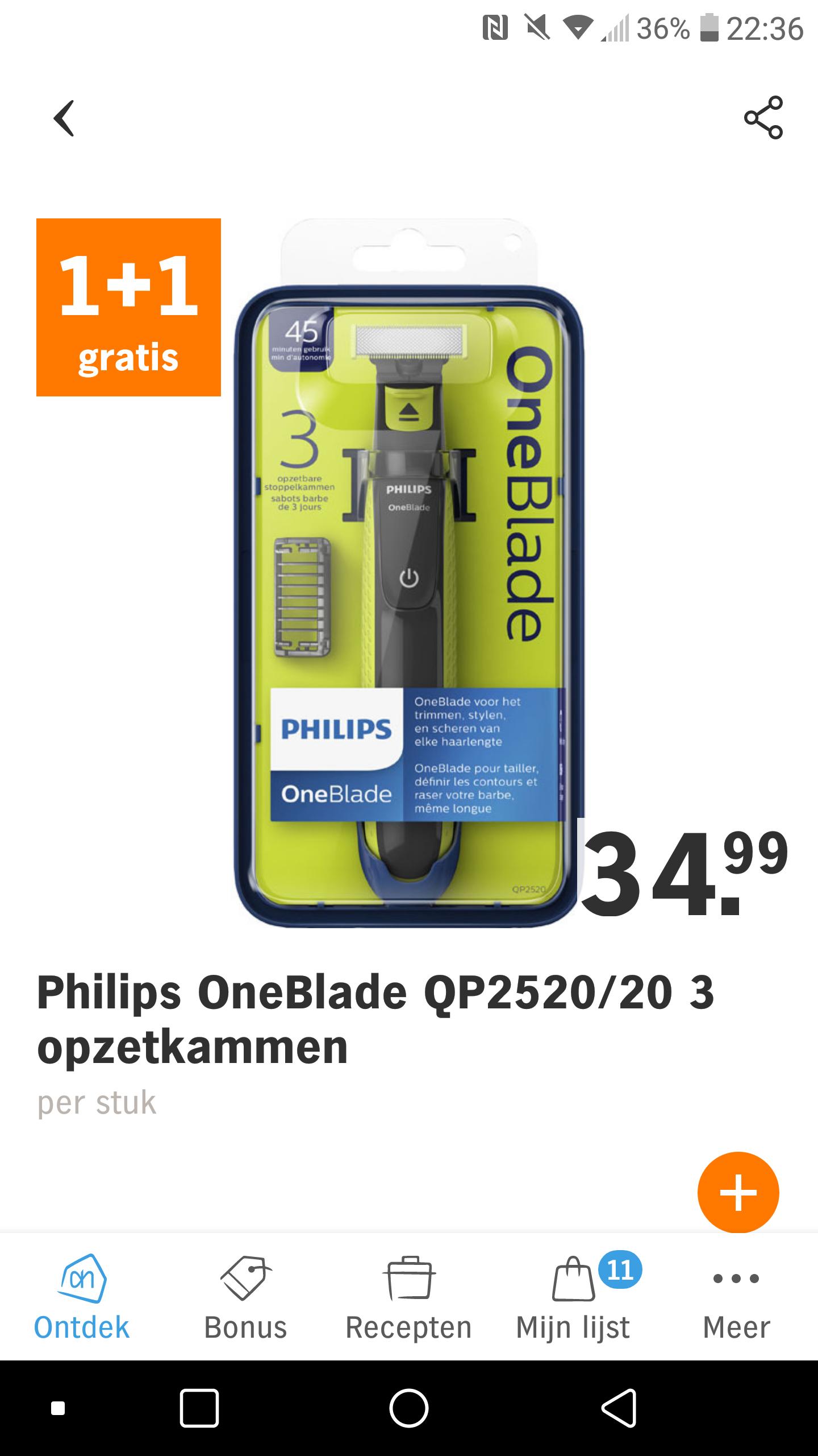 Philips OneBlade QP2520/20 1+1gratis