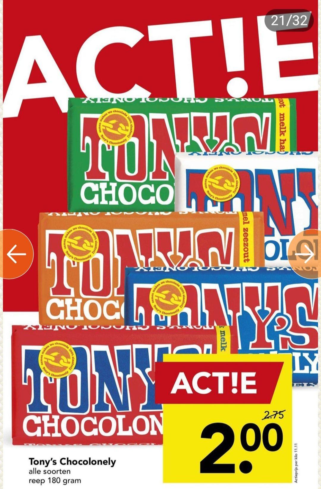 Alle varianten Tony's Chocolonely chocola per reep €2,- @Deen