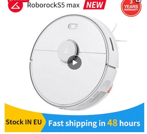 Nieuwste Roborock S5 MAX(EU version) Robot Stofzuiger/Dweiler 2 in 1 dmv code. Verzending in EU.