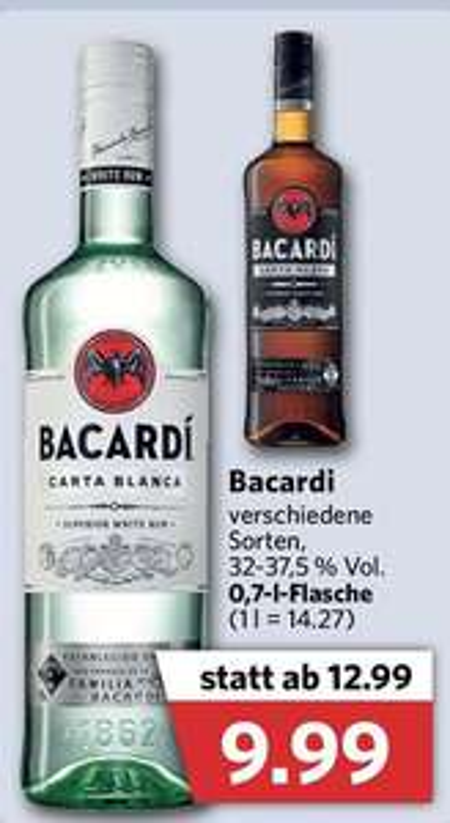 Bacardi Carta Blanca, Carta Negra, Limon, Razz (+ Gratis glas) 70cl @Combi DE [Grensdeal]