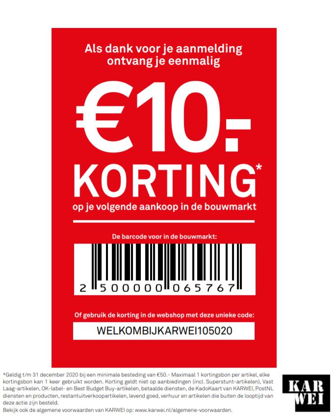 €10 korting bij min. €50 besteding @ Karwei webshop