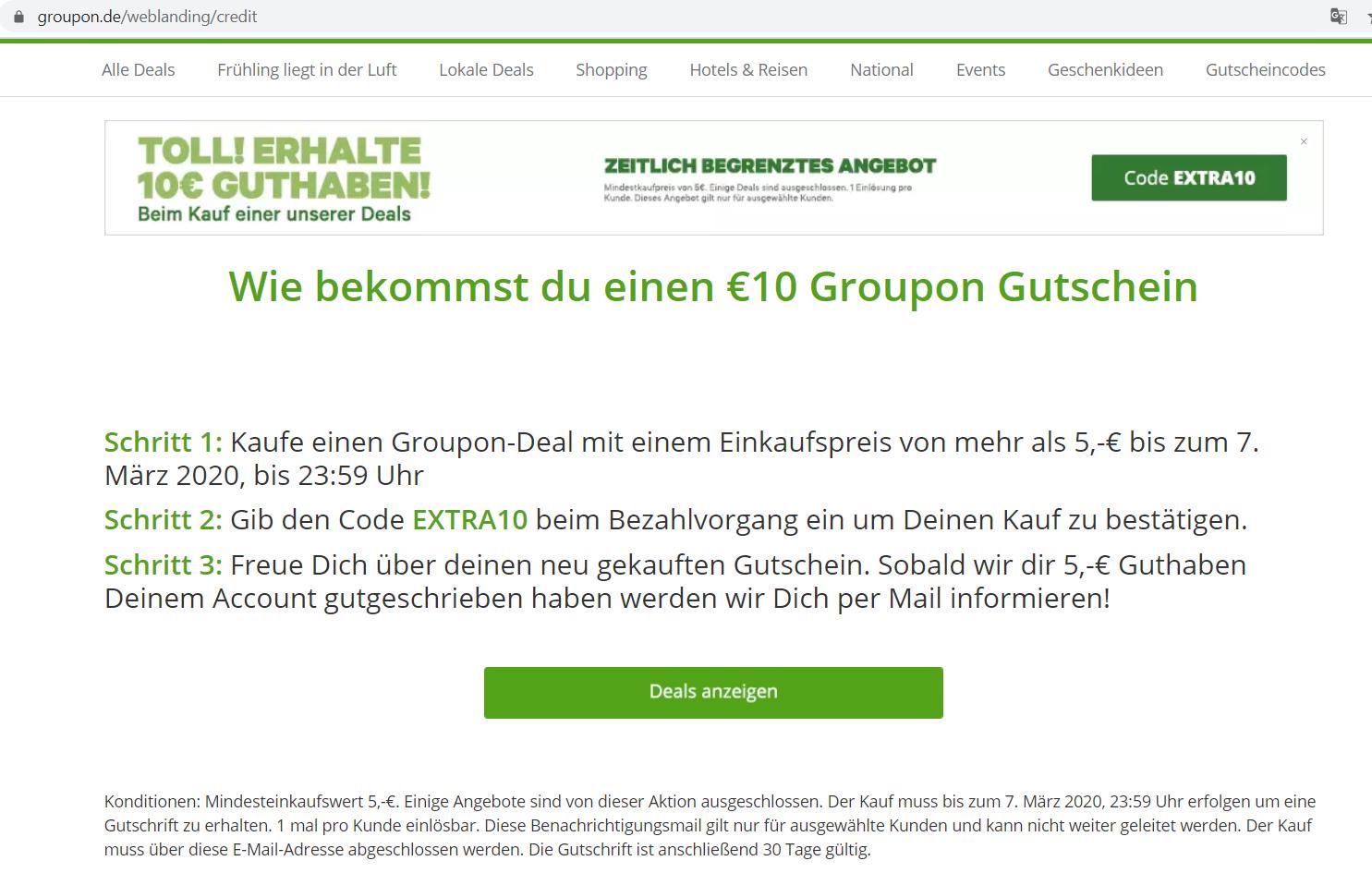 [Geselecteerde accounts] €10 tegoed bij min. besteding €5 @ Groupon DE