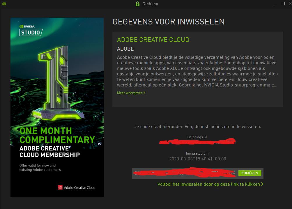 1 maand gratis Adobe CC met Nvidia