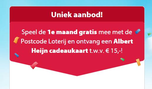 Postcode Loterij - 1e maand gratis + €15 cadeaukaart Albert Heijn
