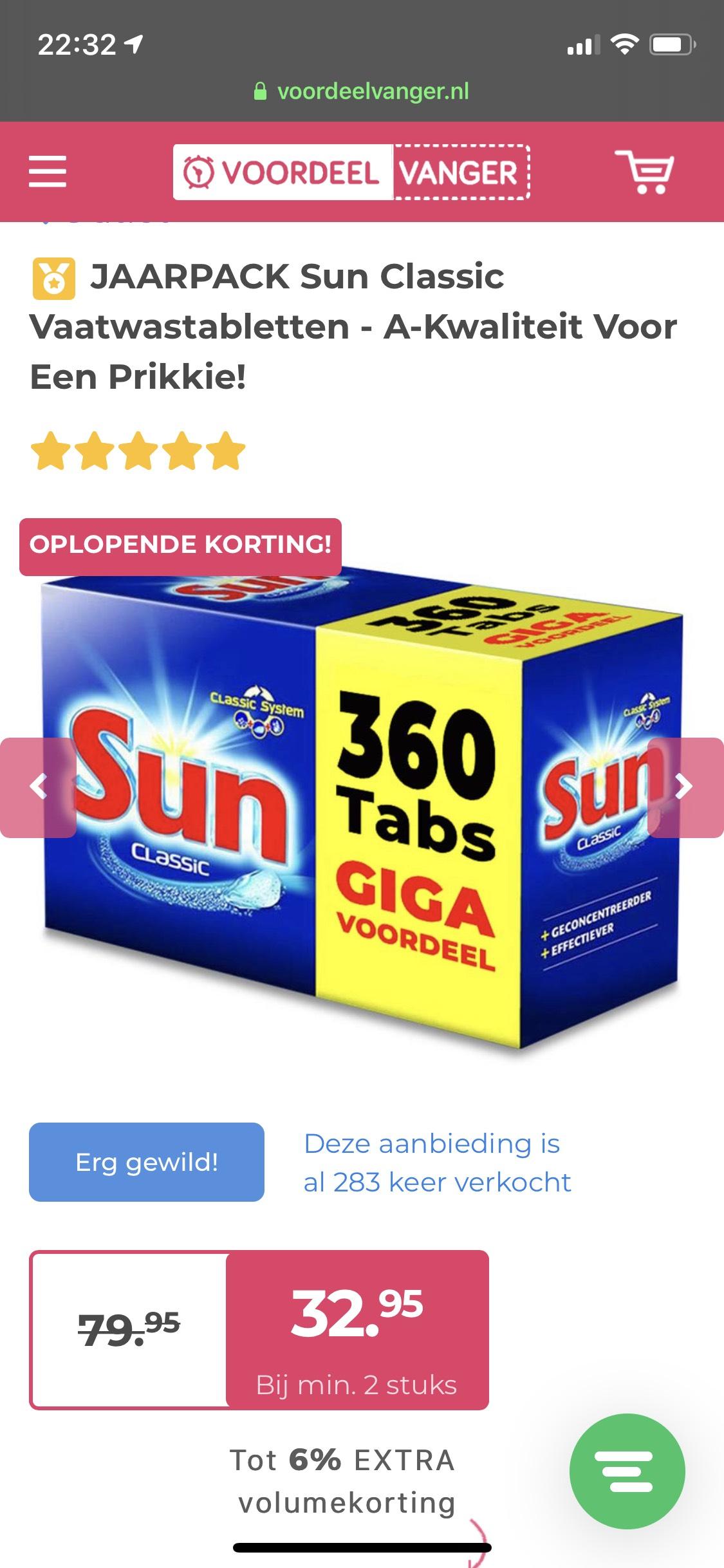 JAARPACK Sun Classic Vaatwastabletten - A-Kwaliteit Voor Een Prikkie!
