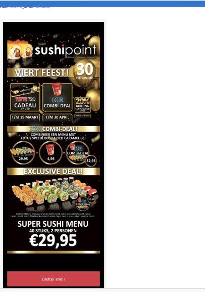 20% korting op je bestelling @ Sushipoint