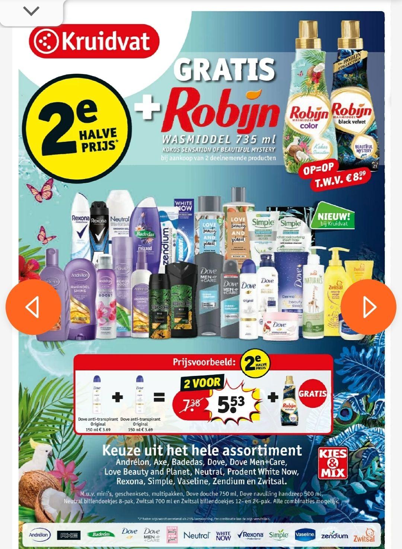 Gratis Robijn wasmiddel 735 ml bij aankoop van 2 actieproducten + 2e halve prijs