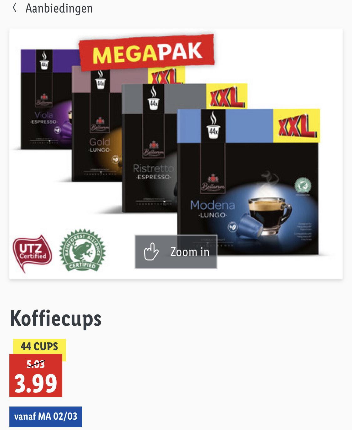 XXL nespresso Lidl cups op=op 0.09 euro per cupje