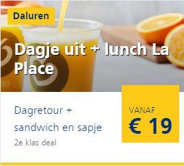 Dagretour NS met Sandwich en Sapje (twv €7) bij La Place
