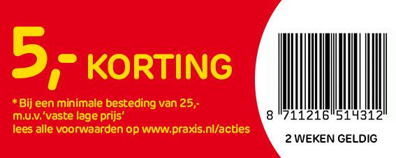 Altijd €5 korting vanaf €25 in de winkel @ Praxis