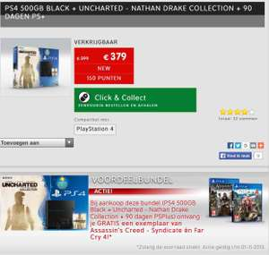 PS4 500 GB + Nathan Drake Collectie + Assasin's creed syndicate + Farcry 4 voor €379