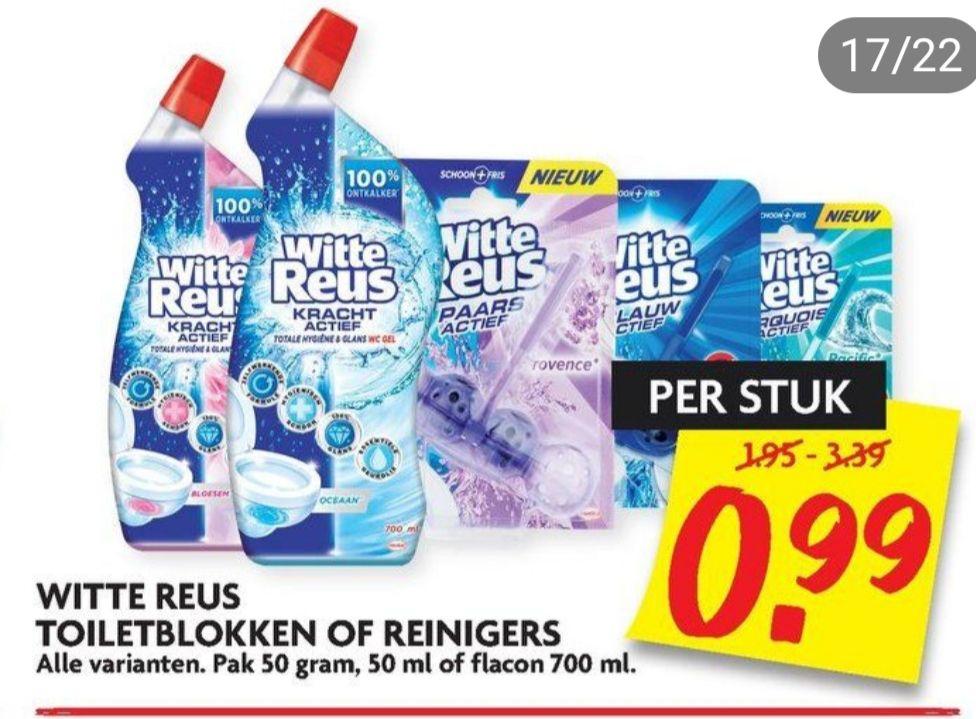 Witte Reus Toiletblokken of reinigers voor maar €0,99 bij Dirk en Dekamarkt!