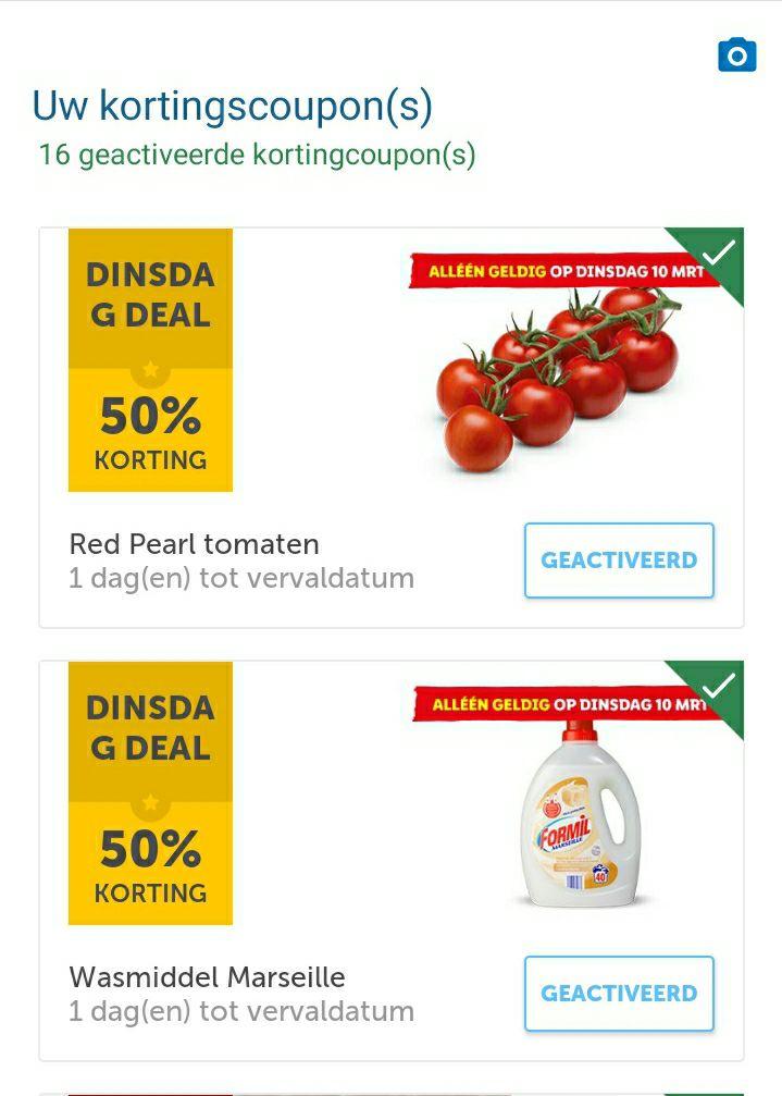 Alleen op dinsdag 10 maart 50% korting op tomaten en wasmiddel via Lidl plus app