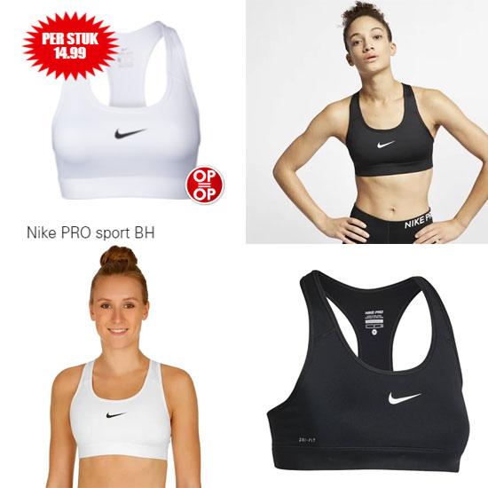 Nike Pro sport bh zwart / wit @ Dirk