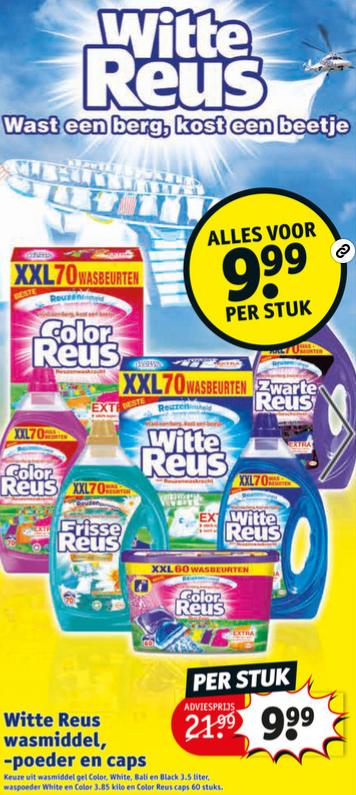 Alle Witte Reus wasmiddel, -poeder en caps voor 9,99 + gratis spel @ kruidvat.nl