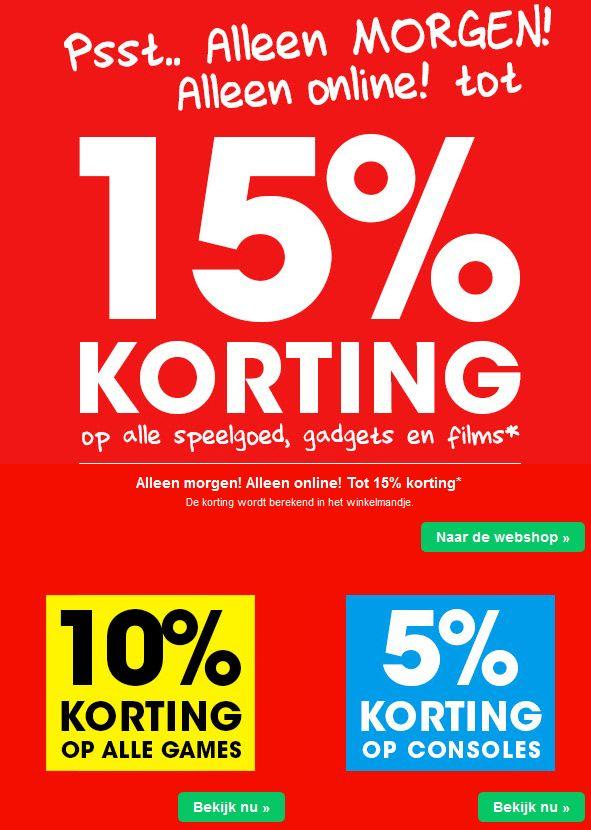 Alleen morgen (zondag) 15% korting op bijna alles @ Bart Smit en Intertoys Online