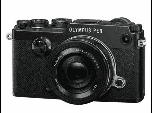 OLYMPUS PEN-F Zwart + 14-42mm f/3.5‑5.6 EZ + Flitser