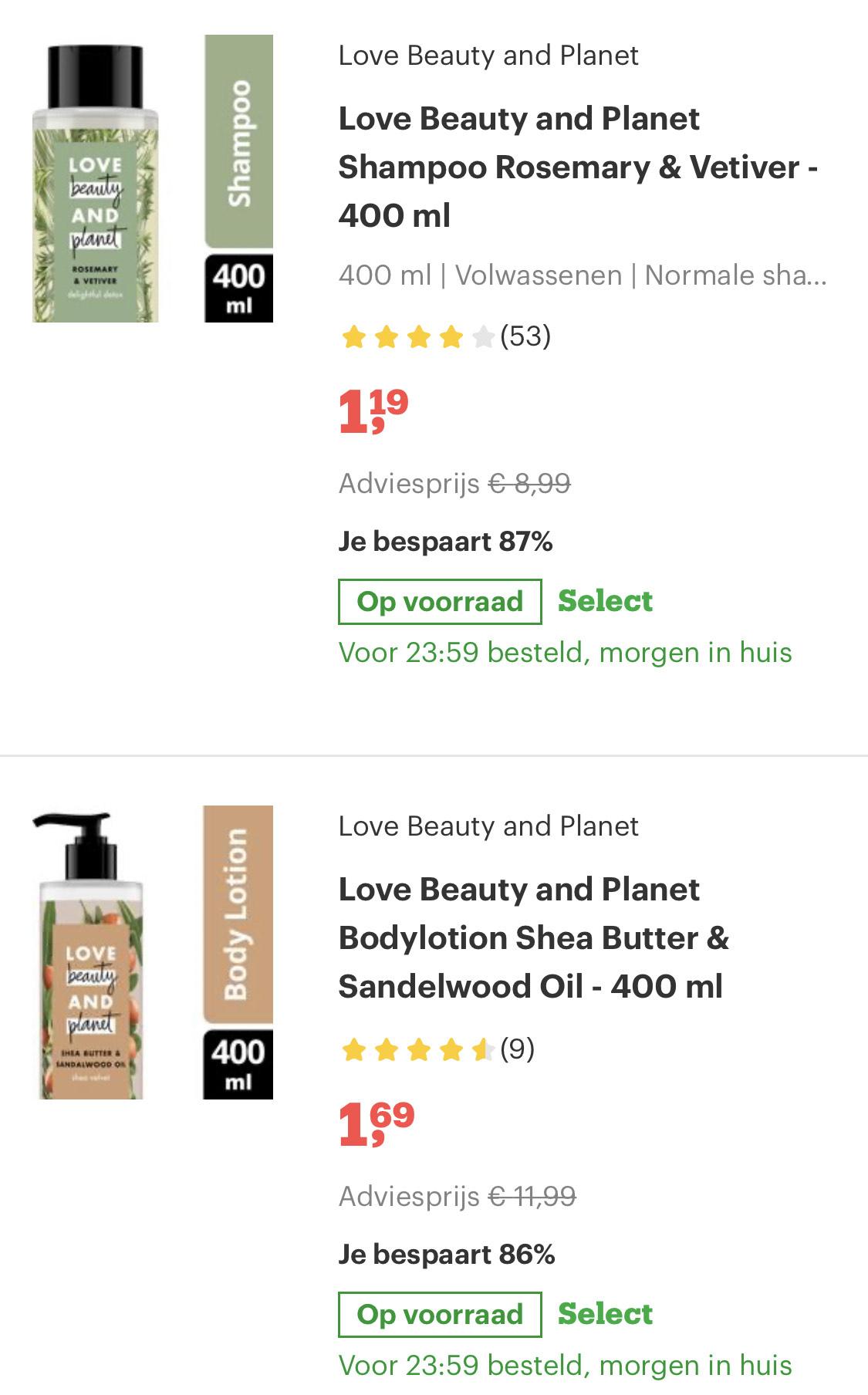 Love beauty and planet shampoo / body lotion vanaf €1,19 @ Bol.com