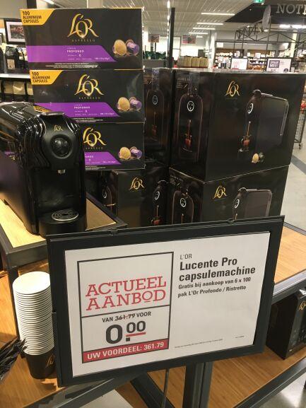 L'Or lucente pro koffiemachine gratis bij aankoop van 600 L'Or capsules