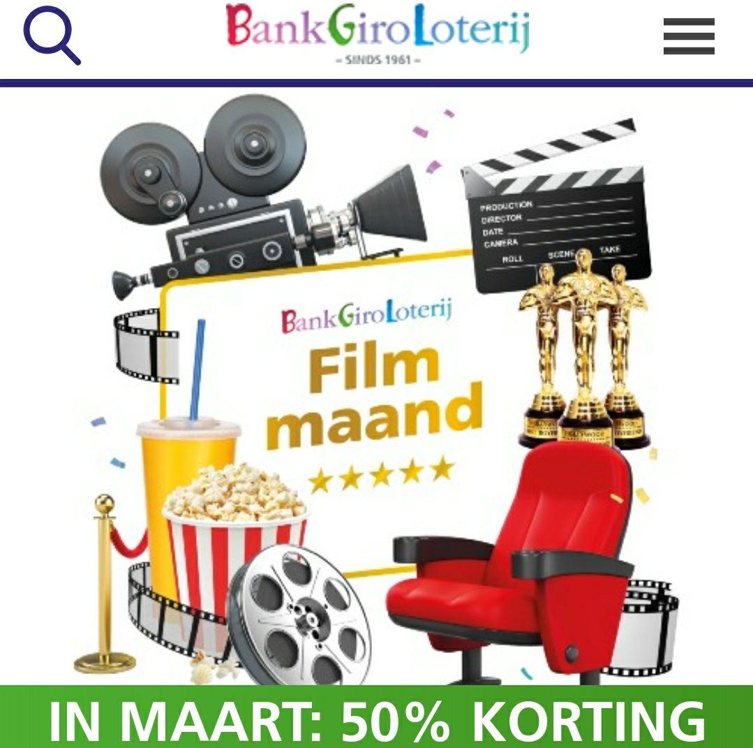 1 bioscoopkaartje voor €5,75 als deelnemer BankGiroLoterij