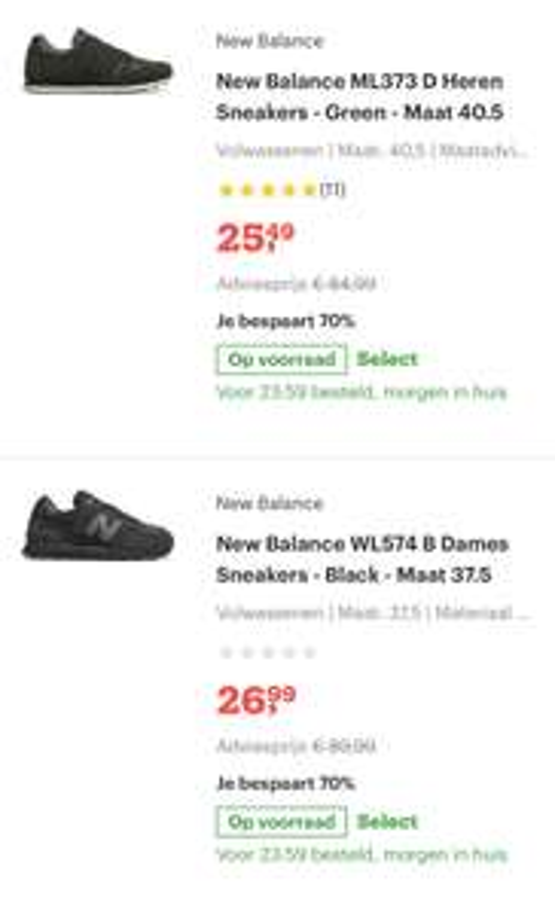 New balance dames en heren sneakers vanaf €25 @ Bol.com