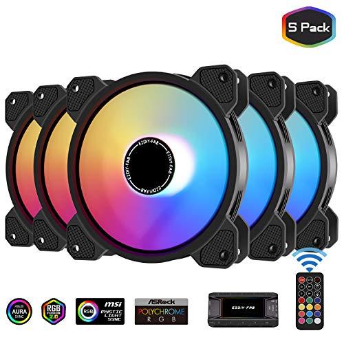 5-pack 120mm RGB fans (EZDIY) met hub & afstandsbediening (Amazon.de)