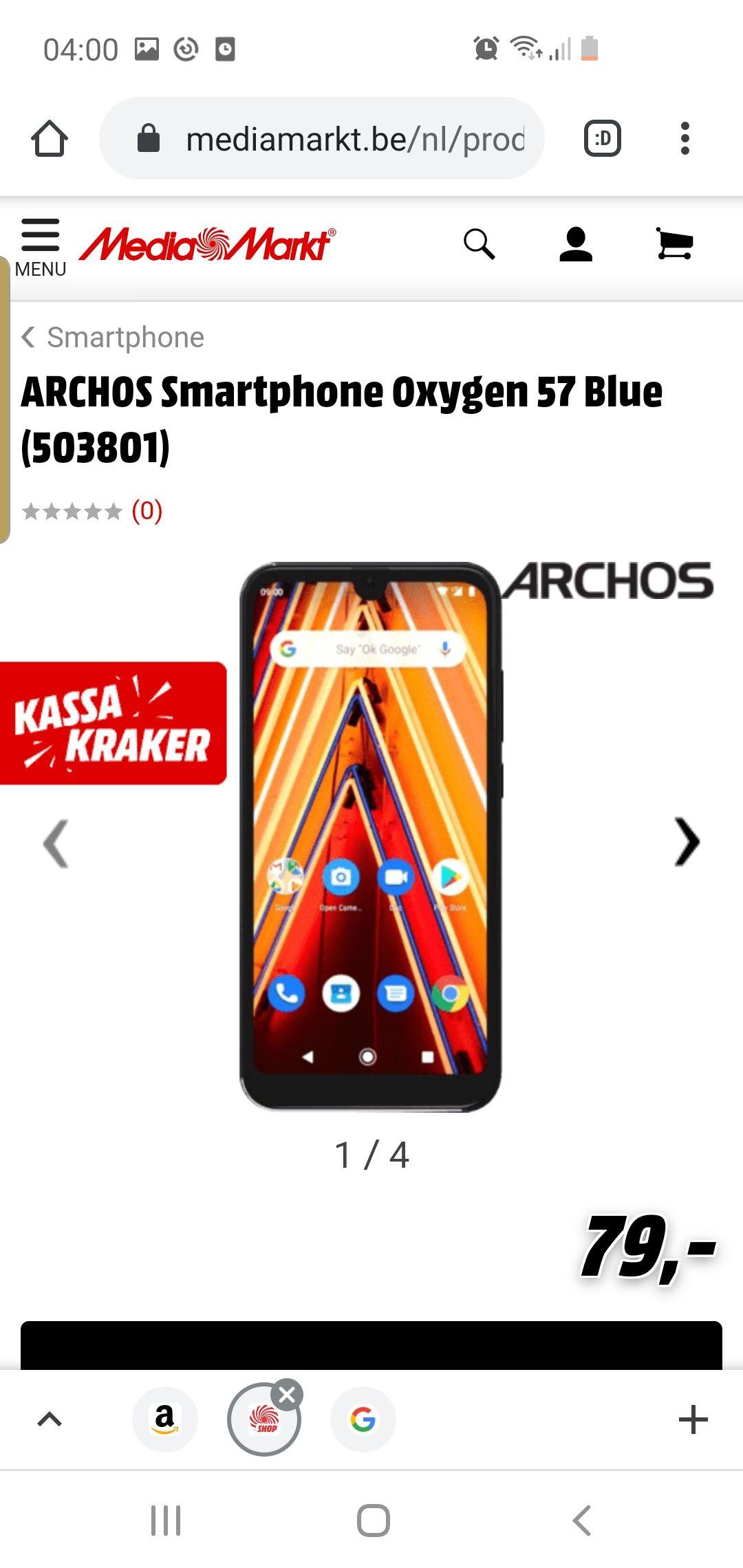 Grensdeal Belgie Archos Smartphone oxygen 57 blue 503801