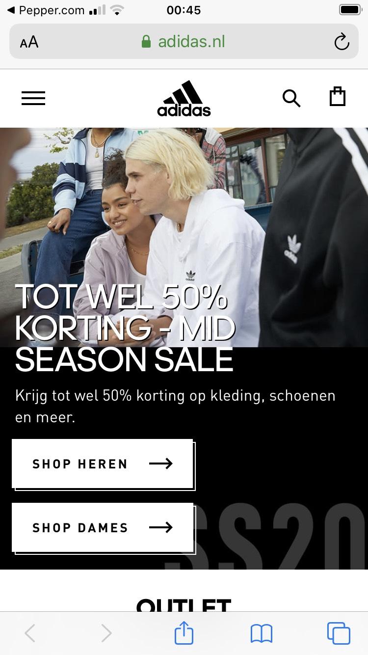 adidas Mid season sale 50% korting + 20% extra korting