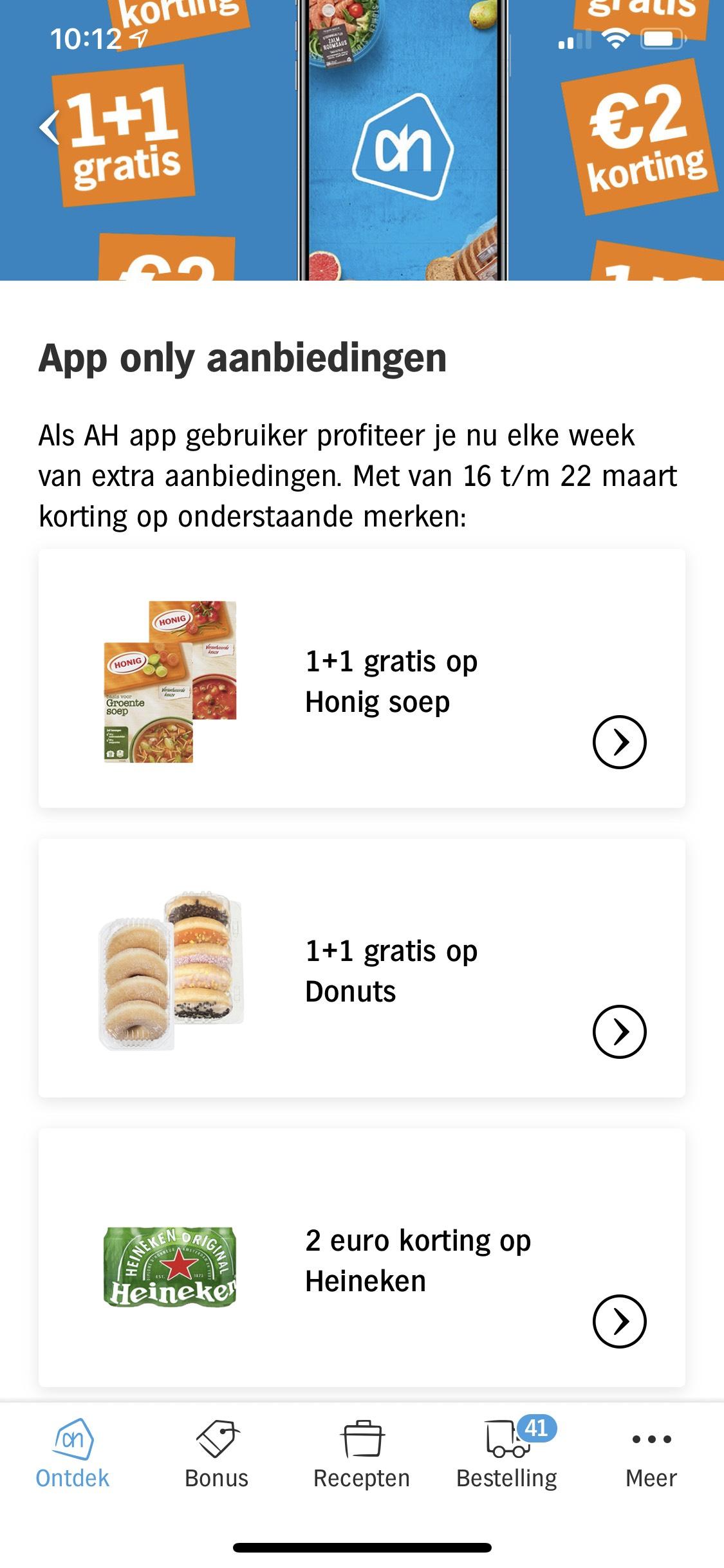 Albert Heijn App only aanbiedingen 17 tm 23 maart Honig soep - Donuts - Heineken