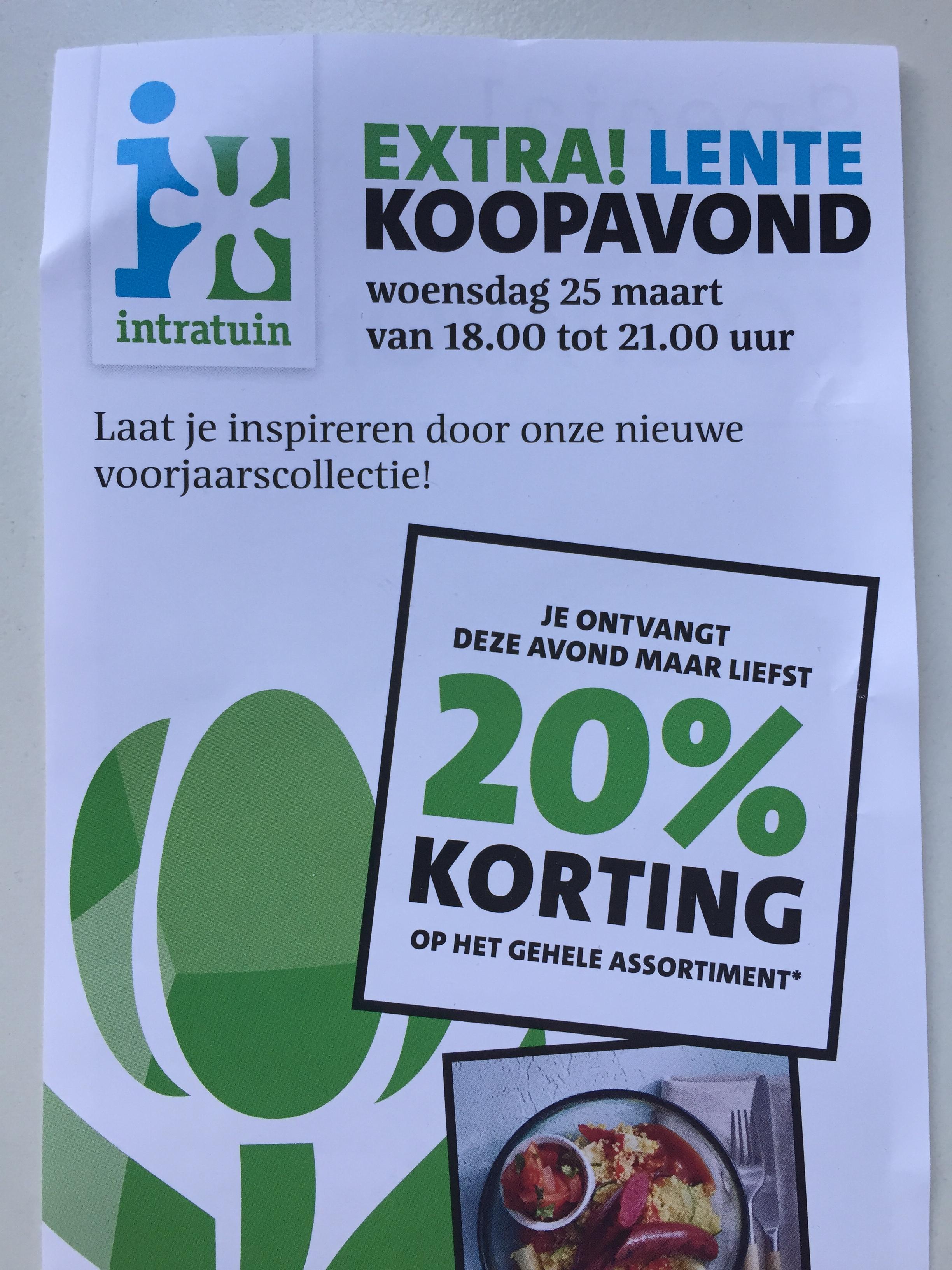 20% korting op online assortiment Intratuin 25 maart 18.00-0.00