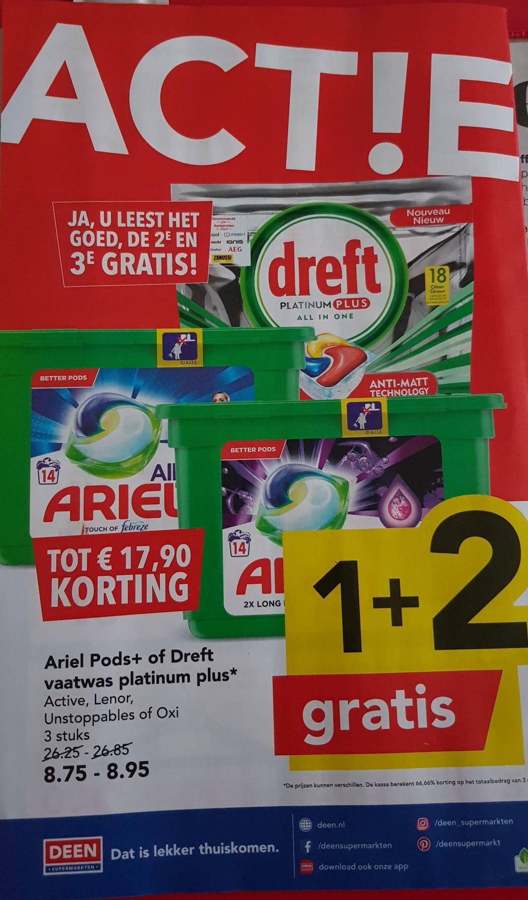 Bij DEEN, Ariel Pods of Dreft afwas tabs, 3 halen 1 betalen.