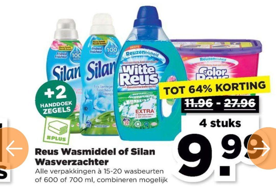 4 flessen Reus wasmiddel of Silan wasverzachter €9,99
