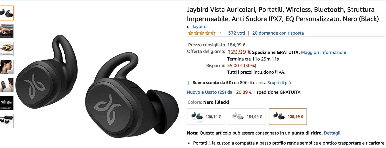 Jaybird Vista Black Draadloze Bluetooth Sport Oordopjes IPX7 bij Amazon.it