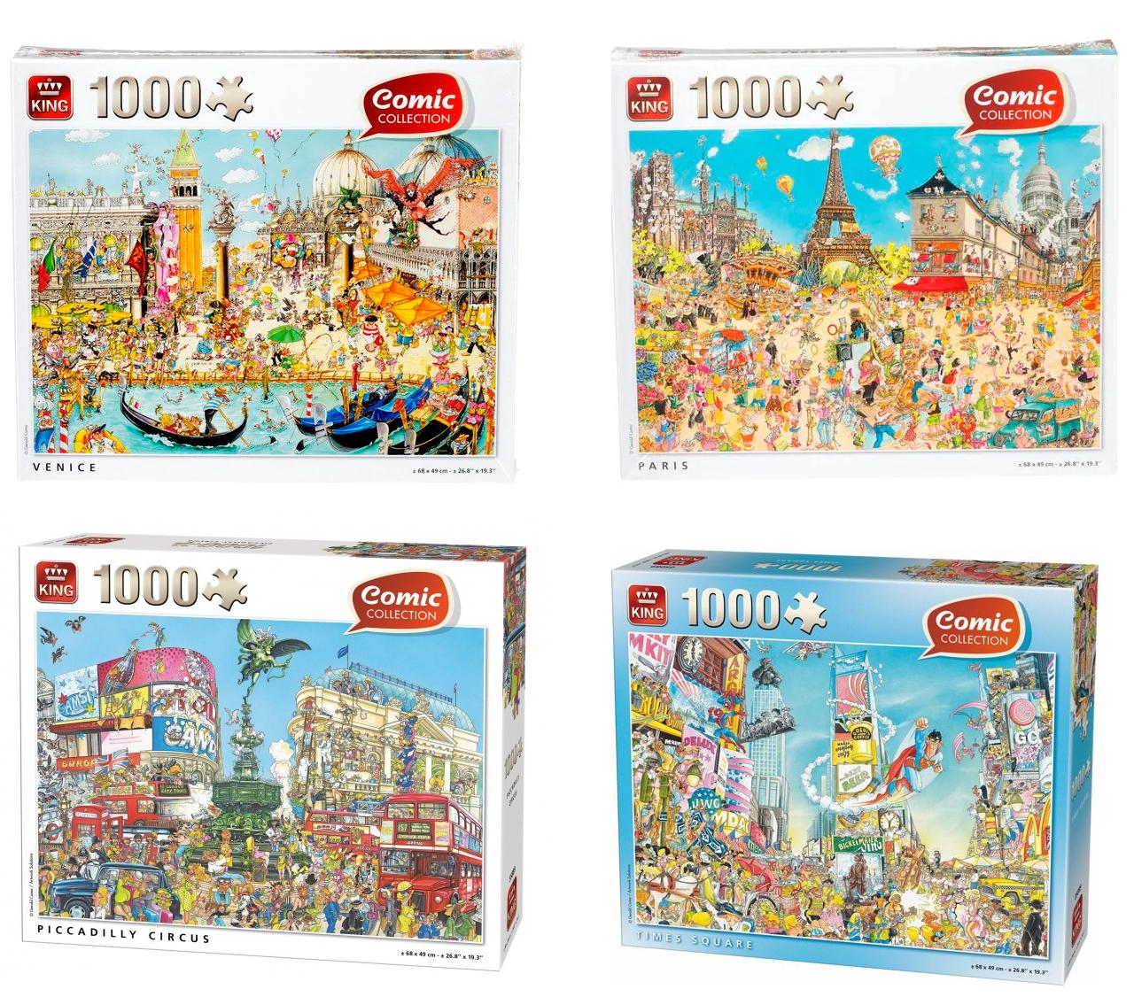 King Collection Legpuzzels 1000 pcs Venice/Paris/Times Square/Piccadilly Circus voor €2,89 @ Kruidvat