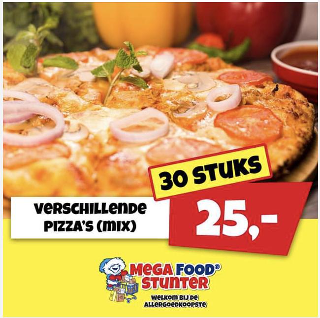 30 pizza's voor €25 @ Mega Food Stunter