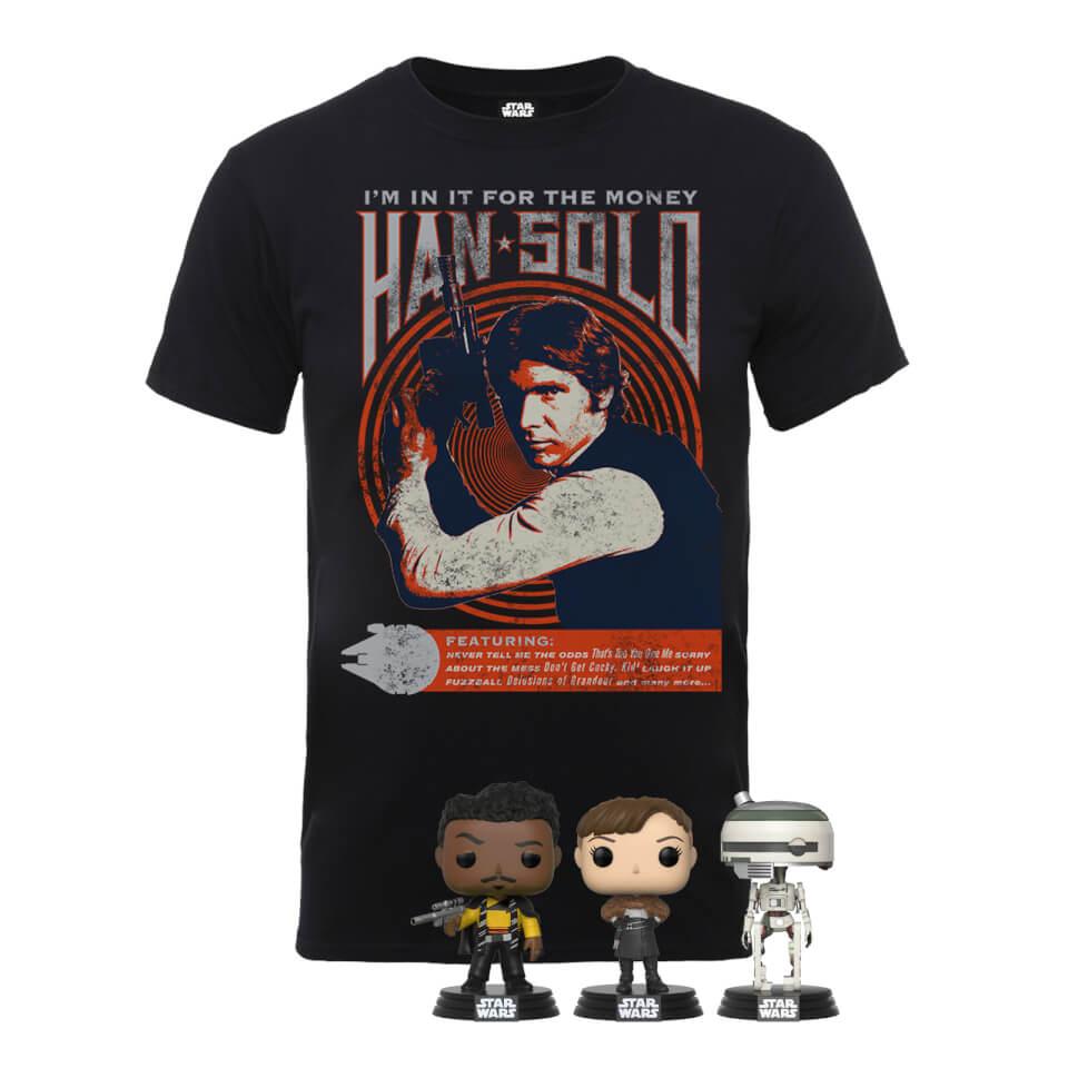 Han Solo T-Shirt + Funko Pop! van L3-37, Lando Calrissian en Qi'Ra @ Zavvi