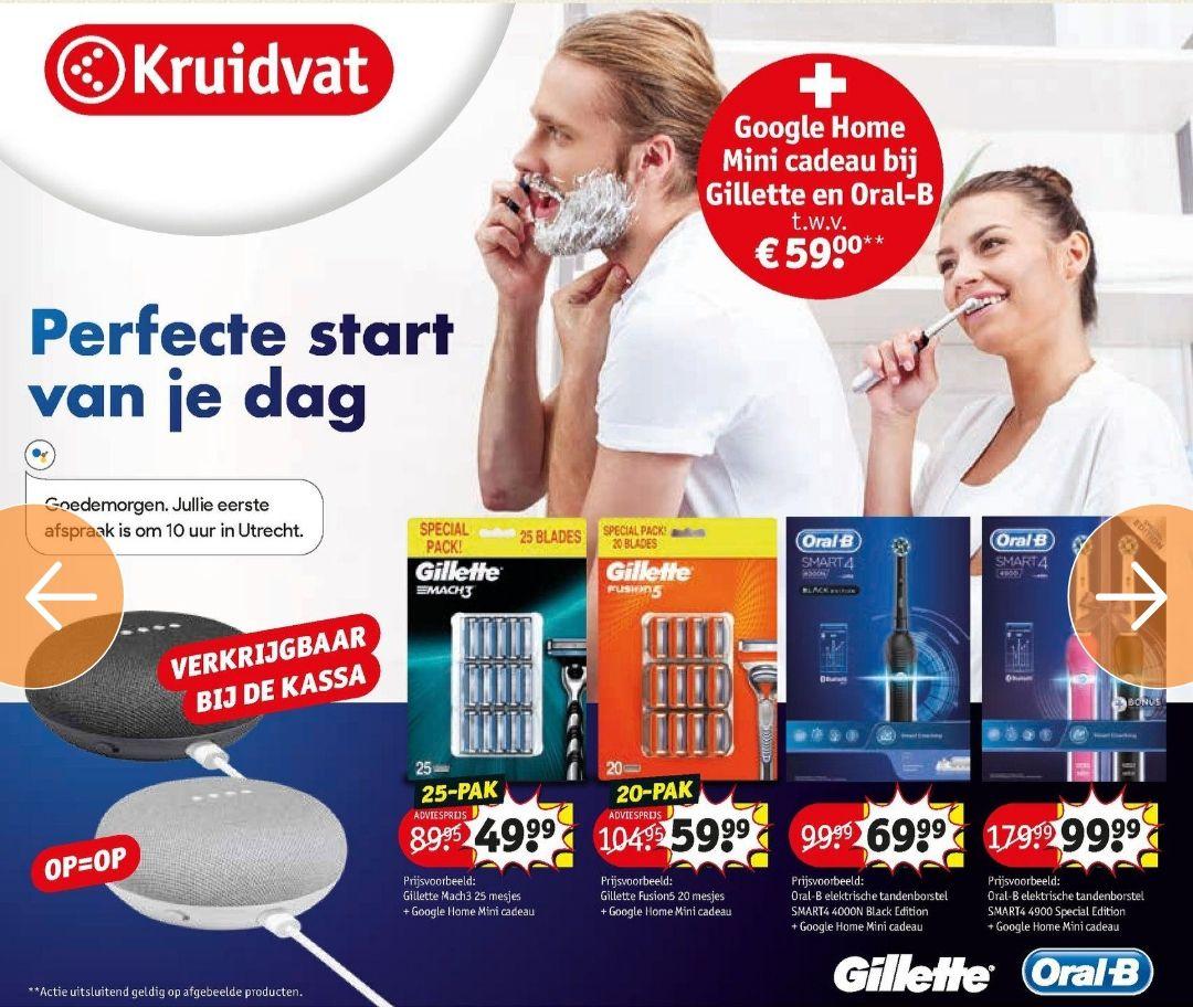 GRATIS Google Home mini (t.w.v. €40,00) bij Gilette en Oral-B @Kruidvat