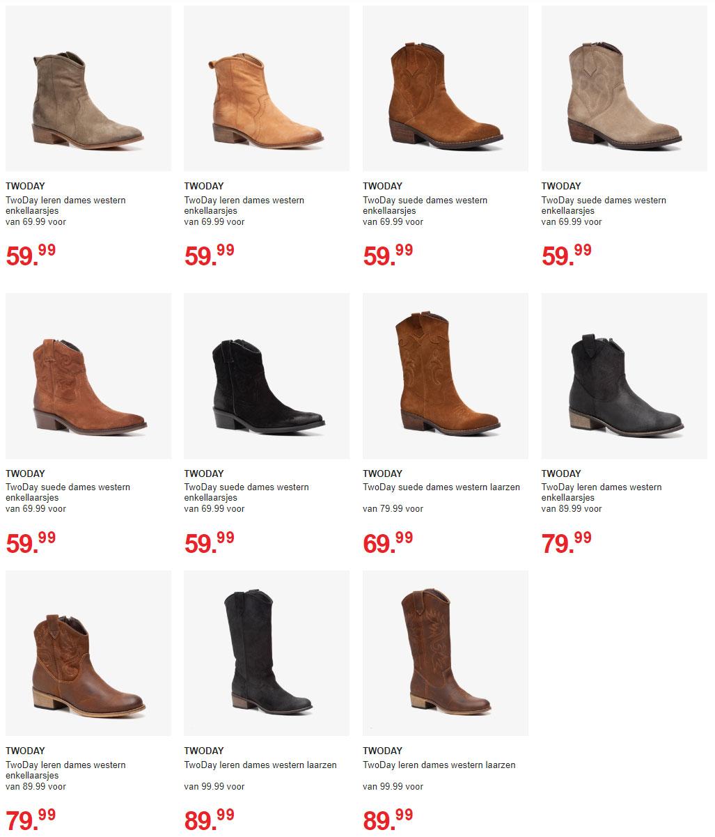 Suède cowboyboots -20% + €5 extra = va €43,99 @ Scapino