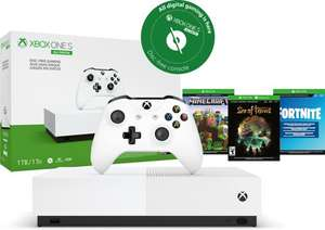 Xbox One S console (1TB) All-Digital Edition + Fortnite + Sea of Thieves + Minecraft.