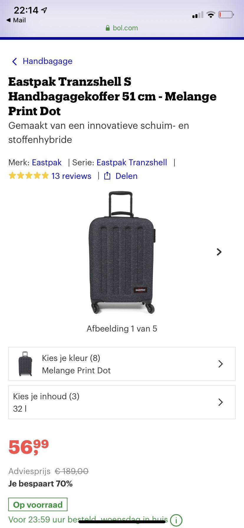 Eastpak handbagage koffer met 70% korting en gratis verzending
