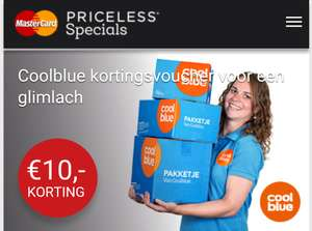 Gratis Coolblue kortingsvoucher van €10 (min. besteding €15) @ MasterCard