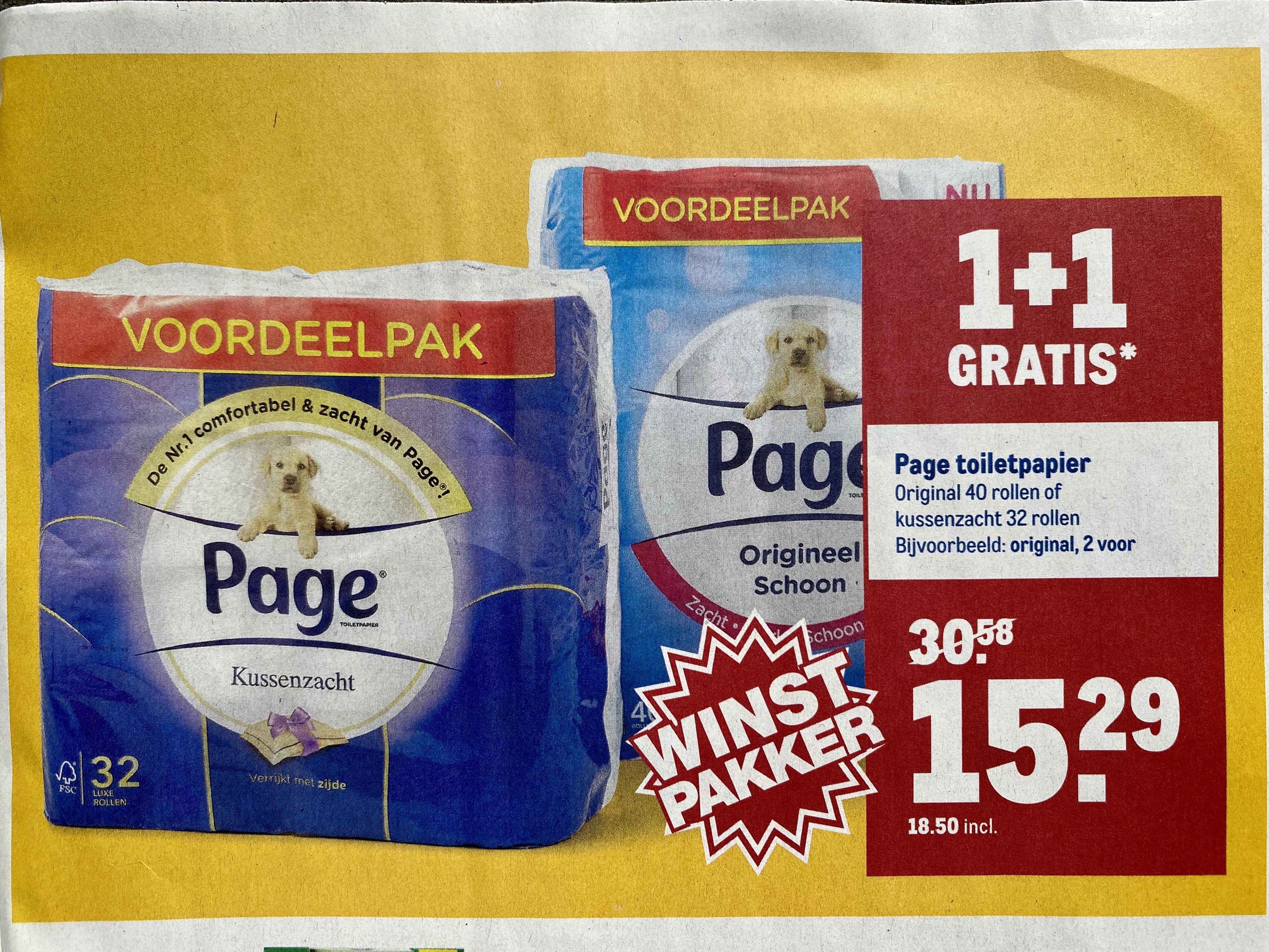 Page toiletpapier - 2e gratis - 80 rollen voor €18,50