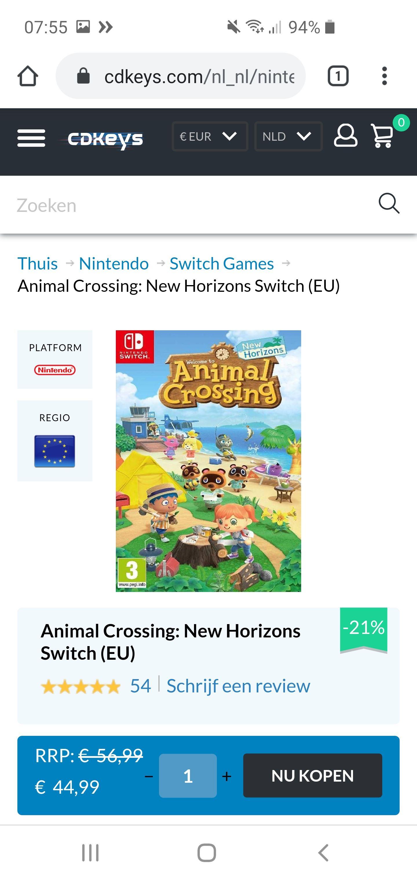 Animal Crossing: New Horizons - Switch (digitale versie)