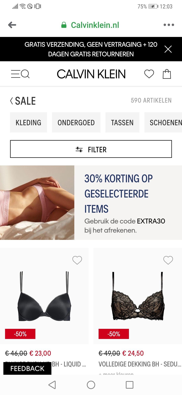 30% extra korting bij Calvin Klein