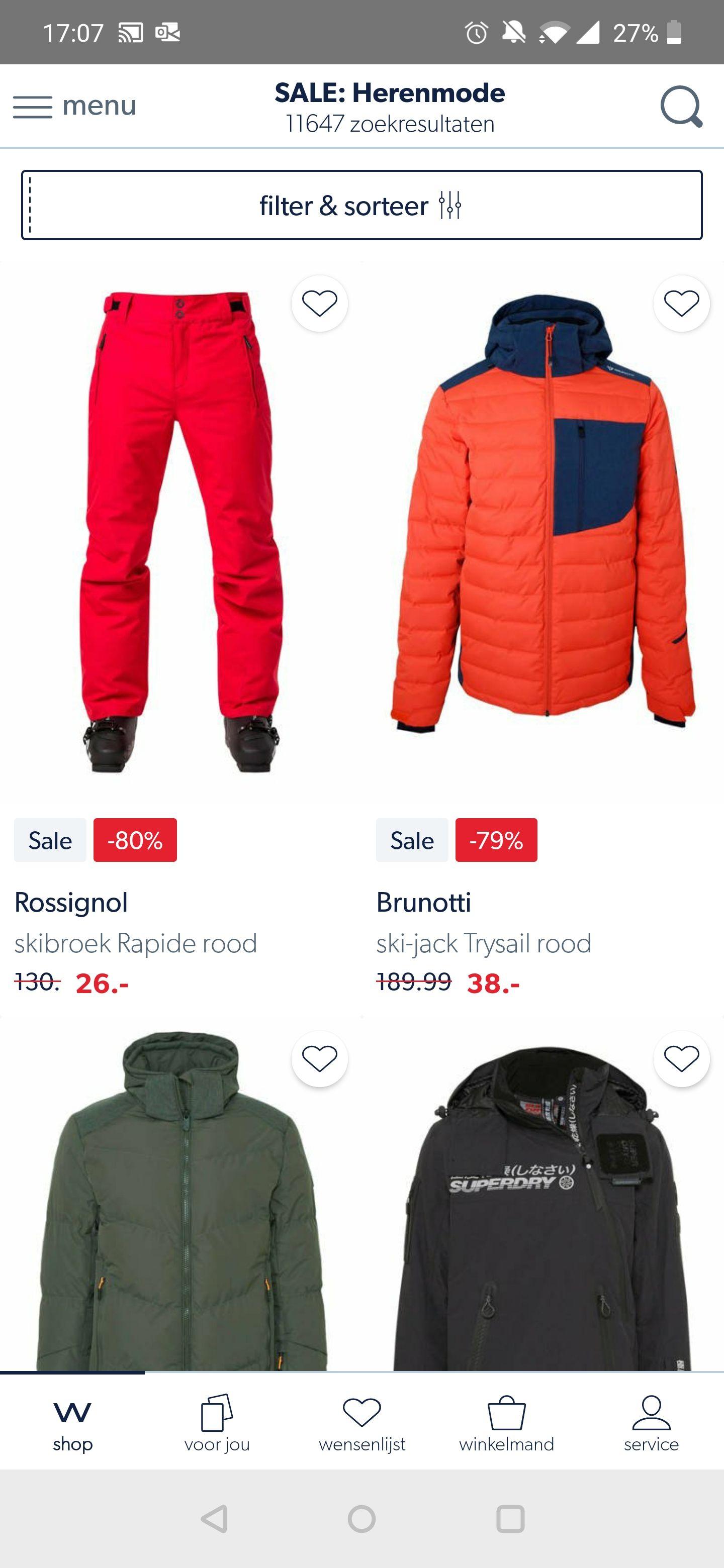 Hoge kortingen op ski kleding bij Wehkamp!