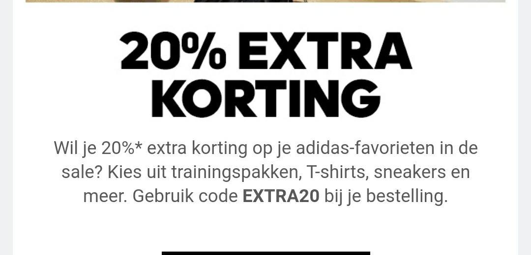 20% korting Adidas + gratis bezorging